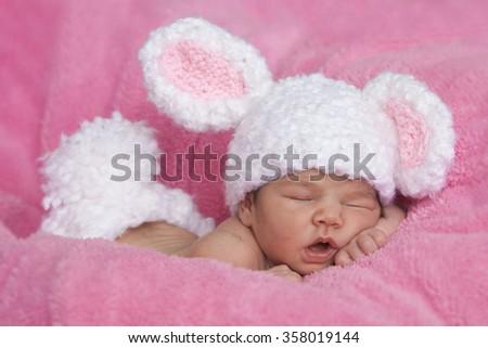 383c3f226 Cute Sleeping Baby Girl Bunny Ears Stock Photo (Edit Now) 358019144 ...