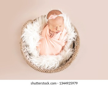 cute sleepy newborn baby girl