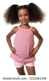 Cute small african american girl smiling - Isolated on white
