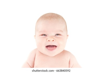 cute smile newborn baby looks at the camera isolated on white background