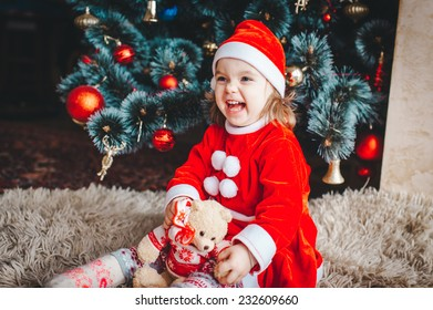5699c5f50 Cute Smiling 2 Years Old Girl Santa Stock Photo (Edit Now) 232609552 ...
