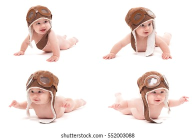 cute smiling baby in the cap of the pilot is flying on a white background.  photo collage, multiple pictures on one