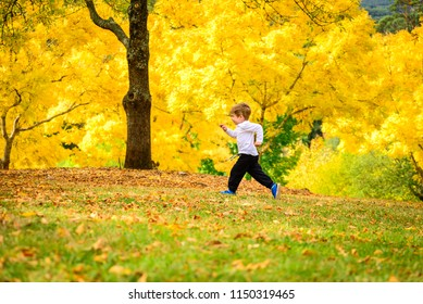 Cute smiling boy running in autumn park on a day, South Australia