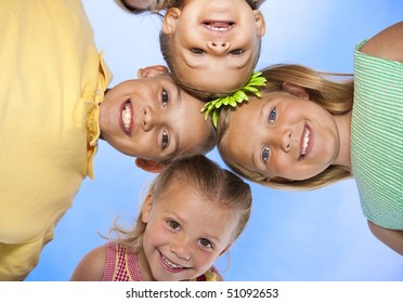 Cute, smiling faces of adorable children having fun together