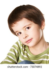 Cute smiling little boy isolated on white background