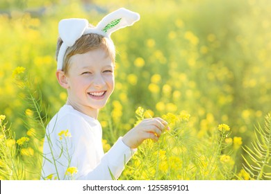 cute smiling little boy wearing toy bunny ears at gorgeous blooming field enjoying easter egg hunt and beautiful spring time, copy space on right