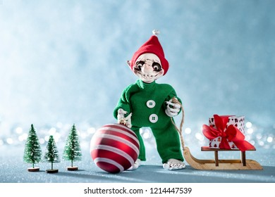 Metal Tealight Holder With Santa Juggling Presents Cutout Xmas Decorations