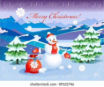 cute  smiling snowman   with red christmas sack