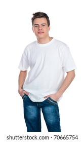 Cute smily young guy over white background