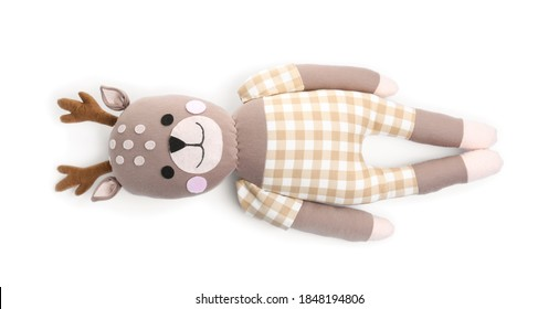 Cute soft toy reindeer isolated on white