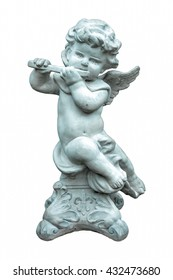 The cute statue playing flute instrument isolated on white background.Angel sculpture
