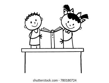 Cute stick figure kids reading a book