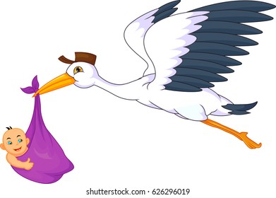 cute stork carrying baby