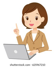 cute style business woman using notebook computer