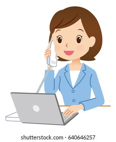 cute style business woman using notebook computer and telephone. blue color suit version