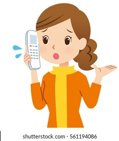 cute style young mother to using telephone posing