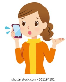 cute style young mother to using smart phone posing