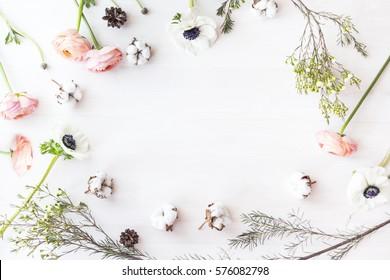 Cute and stylish branding mockup photo wit flowers.