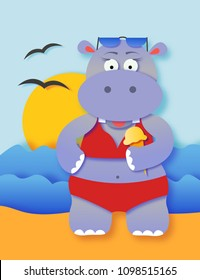Cute summer hippo girl on a beach cartoon illustration