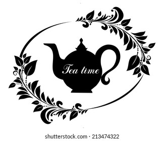 Cute tea time card. Beautiful background with teapot and place for your text. Menu for restaurant, cafe, bar, tea-house.  illustration