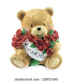 cute teddy bear couple holding red rose.