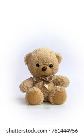 Cute teddy bear doll, isolated on white background