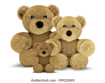 cute teddy bear family with dad mum and child 3d render