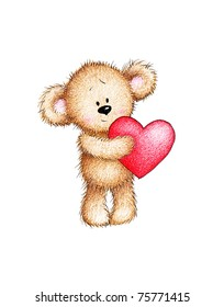 Cute teddy bear holding red heart on white background