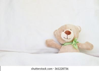 Cute teddy bear in kids room.