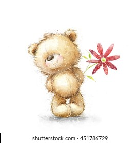 Cute Teddy Bear in love holding big red flower. Happy birthday or Mother's day  postcard.