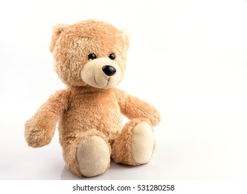 Cute teddy bear on white