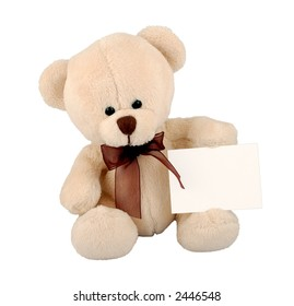 Cute teddy bear with sign.