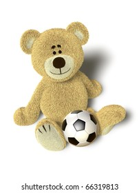 A cute teddy bear sits down on the floor and looks up into the camera. A soccer ball is in front of him between the legs. Isolated on withe background with soft shadows.