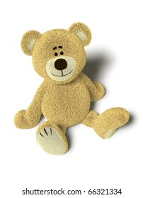 A cute teddy bear sits down on the floor and looks up into the camera.Isolated on withe background with soft shadows.