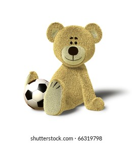 A cute teddy bear is sitting on the floor, supporting himself with both hands. He looks towards the camera and smiles. In front of him, between his legs there is a soccer ball.