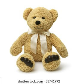 Cute teddybear sitting happy on white background isolated