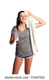 Cute teen cooling down after the workout