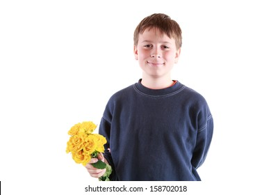 cute teen with flowers on a white background