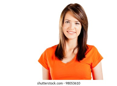 cute teen girl half length portrait on white background