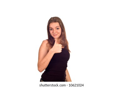 Cute teen model giving the camera a thumbs-up, isolated against white