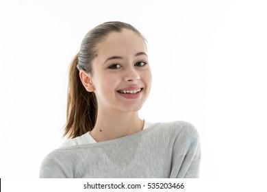 Cute teenage girl with dental teeth braces