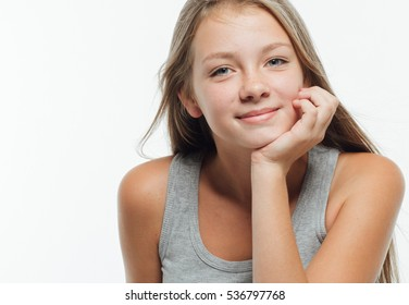 Cute teenage girl freckles woman face closeup portrait with healthy skin