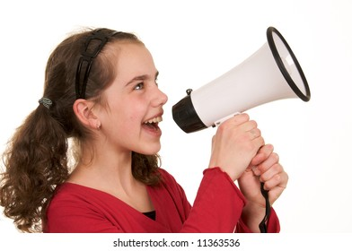 a cute teenage girl with a megaphone trying to get attention