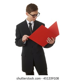 Cute teenager boy in back business suit with a red folder over white isolated background, half body, future career concept