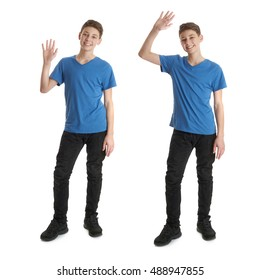 Cute teenager boy in blue T-shirt standing and greeting over white isolated background full body waving hand