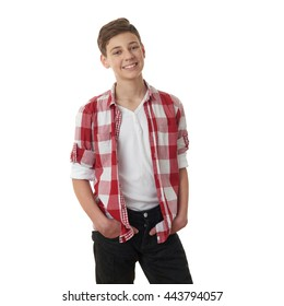 Cute teenager boy in red checkered shirt over white isolated background, half body