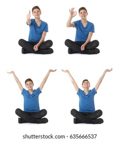 Cute teenager boy showing thumb up OK sign in blue T-shirt and lotus posture over white isolated background