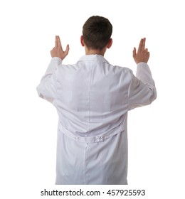 Cute teenager boy wearing white lab medic coat working on virtual screen over white isolated background as science, medicine, healthcare concept, back rear view