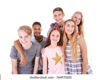 Cute teenagers on white background