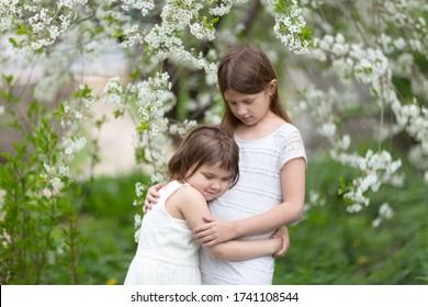 かわいくて優しい白人の若い女の子たちが、花が咲く桜の隣に抱きつく。 姉妹の春と自由と愛、兄弟関係のコンセプト。 ソフトフォーカス、精神衛生。
